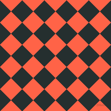 45/135 degree angle diagonal checkered chequered squares checker pattern checkers background, 63 pixel square size, , Tomato and Swamp checkers chequered checkered squares seamless tileable