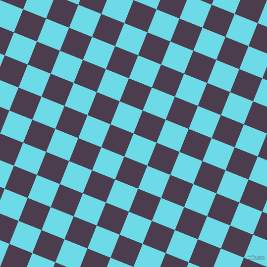 68/158 degree angle diagonal checkered chequered squares checker pattern checkers background, 50 pixel square size, , Turquoise Blue and Bossanova checkers chequered checkered squares seamless tileable