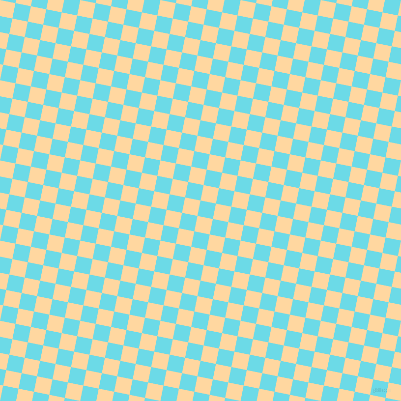 79/169 degree angle diagonal checkered chequered squares checker pattern checkers background, 32 pixel squares size, , Turquoise Blue and Frangipani checkers chequered checkered squares seamless tileable