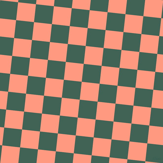 84/174 degree angle diagonal checkered chequered squares checker pattern checkers background, 73 pixel squares size, , Vivid Tangerine and Stromboli checkers chequered checkered squares seamless tileable