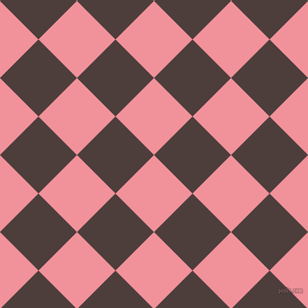 45/135 degree angle diagonal checkered chequered squares checker pattern checkers background, 78 pixel squares size, Wewak and Crater Brown checkers chequered checkered squares seamless tileable