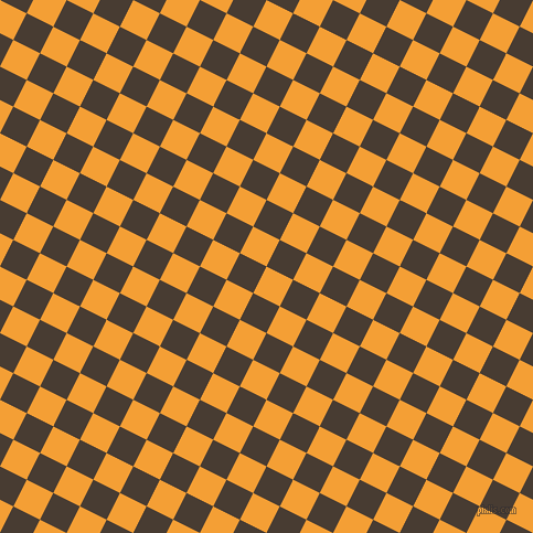 63/153 degree angle diagonal checkered chequered squares checker pattern checkers background, 27 pixel squares size, , Yellow Sea and Taupe checkers chequered checkered squares seamless tileable