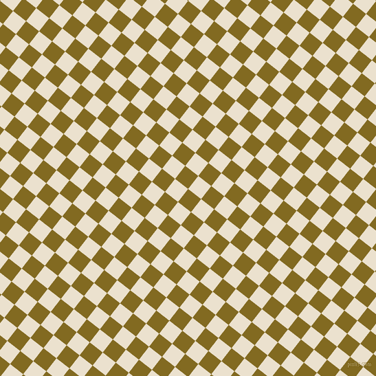 52/142 degree angle diagonal checkered chequered squares checker pattern checkers background, 24 pixel square size, , Yukon Gold and Bleach White checkers chequered checkered squares seamless tileable