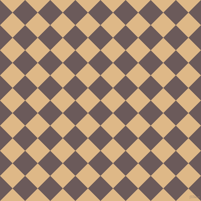45/135 degree angle diagonal checkered chequered squares checker pattern checkers background, 60 pixel square size, Zambezi and Burly Wood checkers chequered checkered squares seamless tileable
