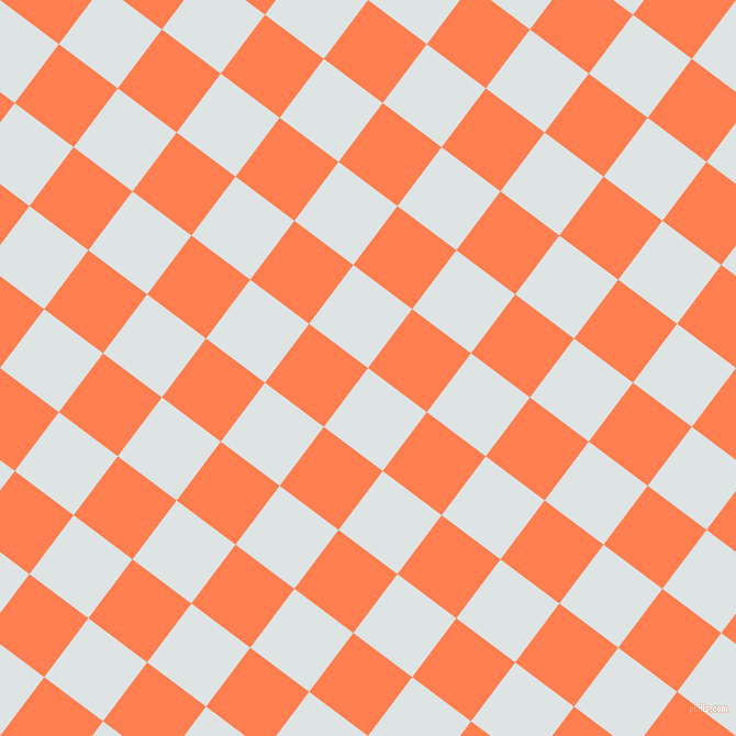 53/143 degree angle diagonal checkered chequered squares checker pattern checkers background, 67 pixel squares size, , Zircon and Coral checkers chequered checkered squares seamless tileable