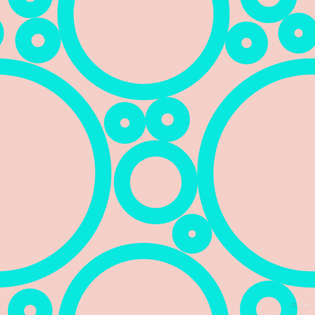 bubbles, circles, sponge, big, medium, small, 33 pixel line width, Bright Turquoise and Coral Candy circles bubbles sponge soap seamless tileable