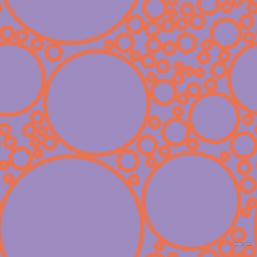 bubbles, circles, sponge, big, medium, small, 9 pixel line width, Burnt Sienna and Cold Purple circles bubbles sponge soap seamless tileable