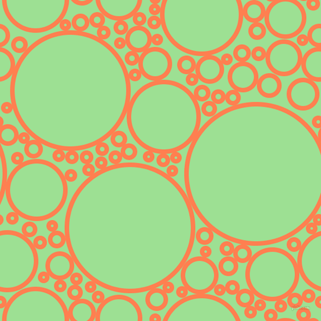 bubbles, circles, sponge, big, medium, small, 9 pixel line width, Coral and Granny Smith Apple circles bubbles sponge soap seamless tileable
