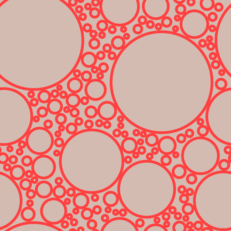 bubbles, circles, sponge, big, medium, small, 9 pixel line width, Coral Red and Wafer circles bubbles sponge soap seamless tileable