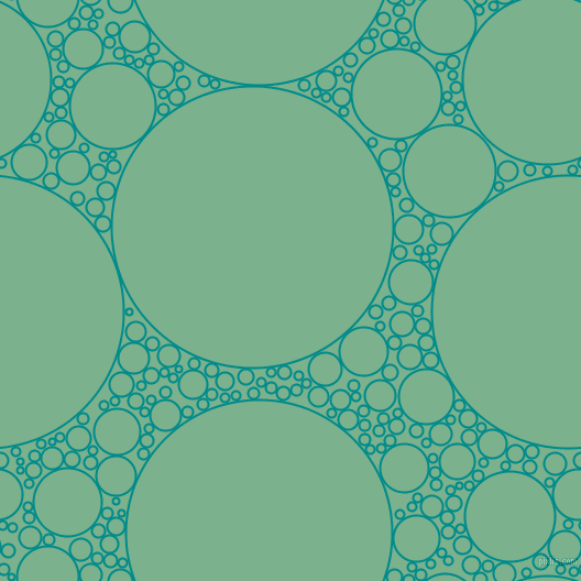 bubbles, circles, sponge, big, medium, small, 2 pixel line width, Dark Cyan and Bay Leaf circles bubbles sponge soap seamless tileable
