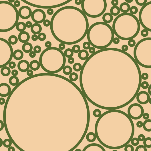 bubbles, circles, sponge, big, medium, small, 9 pixel line width, Dark Olive Green and Tequila circles bubbles sponge soap seamless tileable