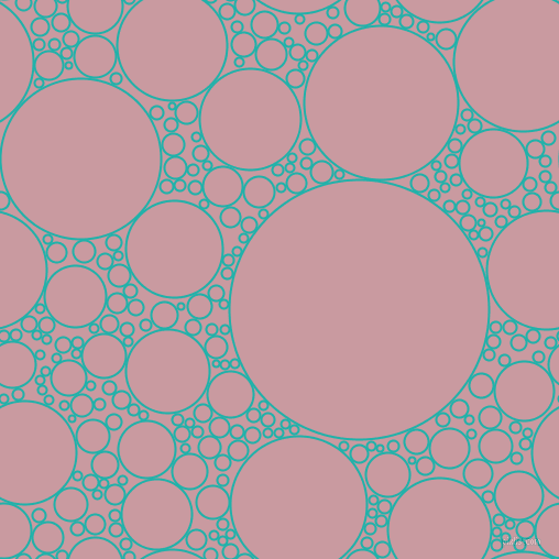 bubbles, circles, sponge, big, medium, small, 2 pixel line width, Light Sea Green and Careys Pink circles bubbles sponge soap seamless tileable