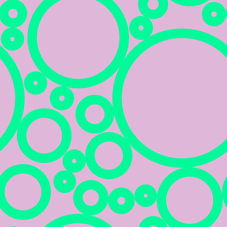 bubbles, circles, sponge, big, medium, small, 33 pixel line width, Medium Spring Green and French Lilac circles bubbles sponge soap seamless tileable