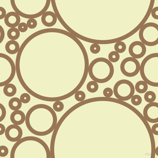 bubbles, circles, sponge, big, medium, small, 17 pixel line width, Pale Brown and Spring Sun circles bubbles sponge soap seamless tileable
