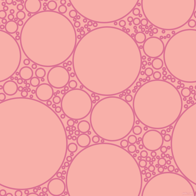 bubbles, circles, sponge, big, medium, small, 5 pixel line width, Pale Violet Red and Sundown circles bubbles sponge soap seamless tileable