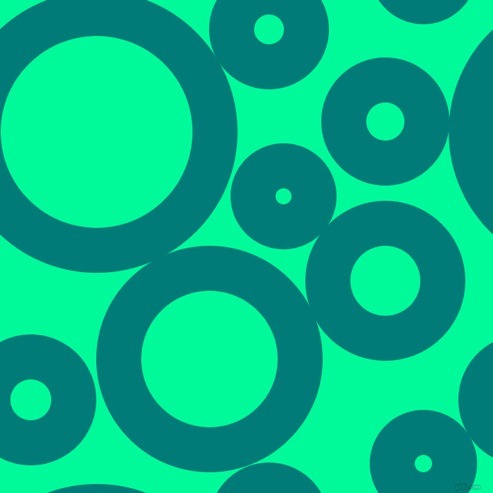 bubbles, circles, sponge, big, medium, small, 65 pixel line width, Surfie Green and Medium Spring Green circles bubbles sponge soap seamless tileable