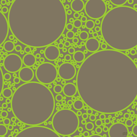 bubbles, circles, sponge, big, medium, small, 5 pixel line width, Yellow Green and Stonewall circles bubbles sponge soap seamless tileable