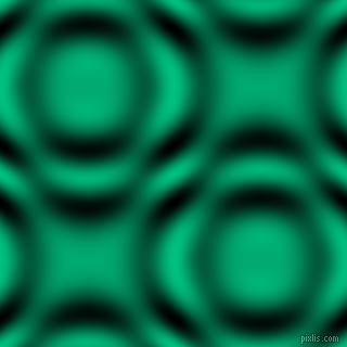 , Caribbean Green and Black and White circular plasma waves seamless tileable