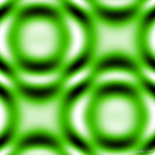 , Kelly Green and Black and White circular plasma waves seamless tileable
