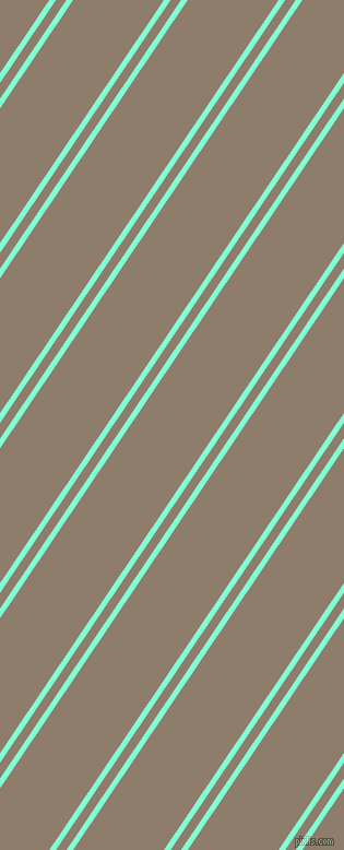 56 degree angle dual striped line, 5 pixel line width, 8 and 69 pixel line spacing, Aquamarine and Squirrel dual two line striped seamless tileable