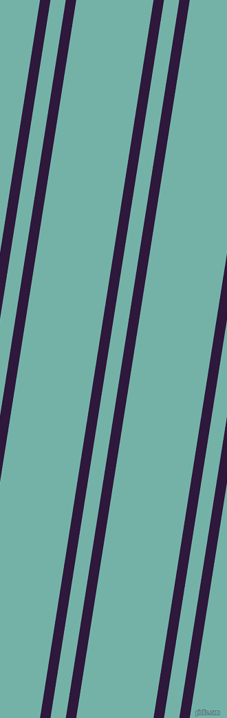 81 degree angle dual stripes line, 15 pixel line width, 22 and 111 pixel line spacing, Blackcurrant and Gulf Stream dual two line striped seamless tileable