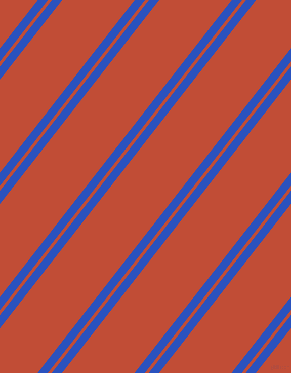 52 degree angle dual striped line, 16 pixel line width, 6 and 113 pixel line spacing, Cerulean Blue and Grenadier dual two line striped seamless tileable