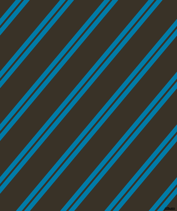 50 degree angle dual striped lines, 15 pixel lines width, 6 and 77 pixel line spacing, Cerulean and Creole dual two line striped seamless tileable