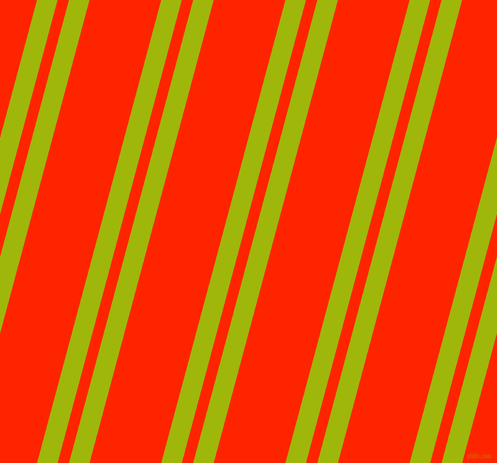 75 degree angle dual stripe lines, 29 pixel lines width, 16 and 101 pixel line spacing, Citrus and Scarlet dual two line striped seamless tileable
