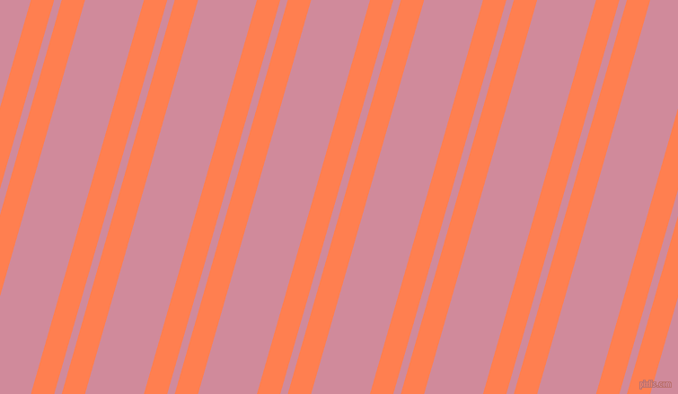 74 degree angle dual striped line, 25 pixel line width, 8 and 63 pixel line spacing, Coral and Can Can dual two line striped seamless tileable