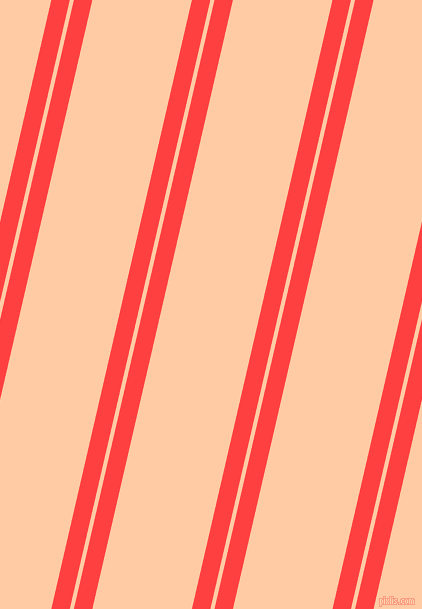 77 degree angles dual stripes lines, 18 pixel lines width, 4 and 97 pixels line spacing, Coral Red and Peach dual two line striped seamless tileable