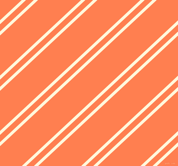 43 degree angle dual stripe line, 10 pixel line width, 18 and 100 pixel line spacing, Corn Silk and Coral dual two line striped seamless tileable