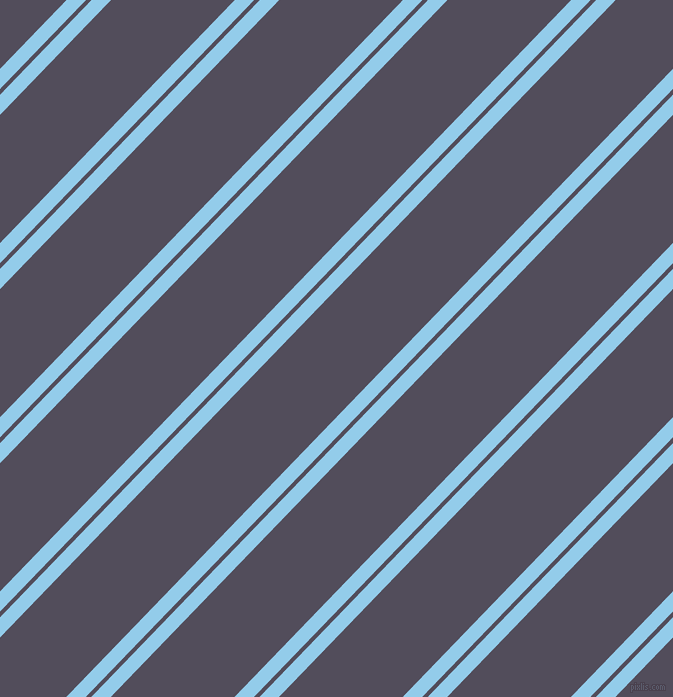 46 degree angle dual stripes lines, 14 pixel lines width, 4 and 89 pixel line spacing, Cornflower and Mulled Wine dual two line striped seamless tileable