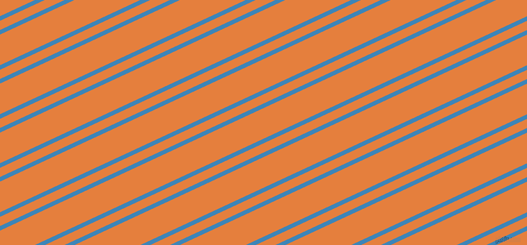 25 degree angles dual stripes lines, 6 pixel lines width, 12 and 40 pixels line spacing, Curious Blue and Pizazz dual two line striped seamless tileable