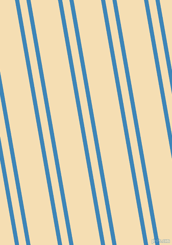 100 degree angle dual stripe line, 8 pixel line width, 14 and 53 pixel line spacing, Curious Blue and Wheat dual two line striped seamless tileable