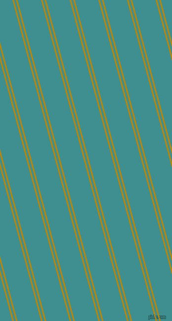 105 degree angle dual striped lines, 3 pixel lines width, 4 and 46 pixel line spacing, Dark Goldenrod and Blue Chill dual two line striped seamless tileable