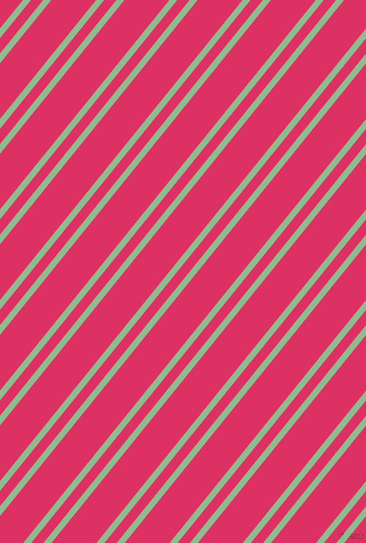 51 degree angles dual striped line, 9 pixel line width, 14 and 51 pixels line spacing, Dark Sea Green and Cerise dual two line striped seamless tileable