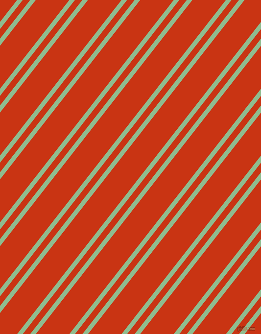 52 degree angle dual striped lines, 9 pixel lines width, 12 and 54 pixel line spacing, Dark Sea Green and Harley Davidson Orange dual two line striped seamless tileable