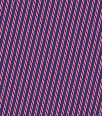 77 degree angle dual stripes line, 3 pixel line width, 2 and 10 pixel line spacing, Deep Blush and Deep Koamaru dual two line striped seamless tileable