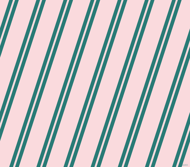 72 degree angles dual stripes lines, 15 pixel lines width, 8 and 70 pixels line spacing, Elm and Pale Pink dual two line striped seamless tileable