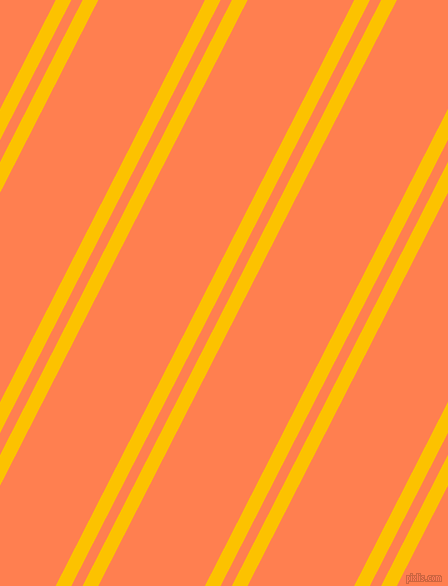 63 degree angle dual striped line, 14 pixel line width, 10 and 95 pixel line spacing, Golden Poppy and Coral dual two line striped seamless tileable