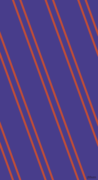 110 degree angles dual stripe lines, 8 pixel lines width, 20 and 88 pixels line spacing, Grenadier and Dark Slate Blue dual two line striped seamless tileable