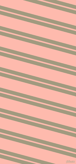 165 degree angle dual stripes lines, 15 pixel lines width, 6 and 46 pixel line spacing, Grey Olive and Melon dual two line striped seamless tileable