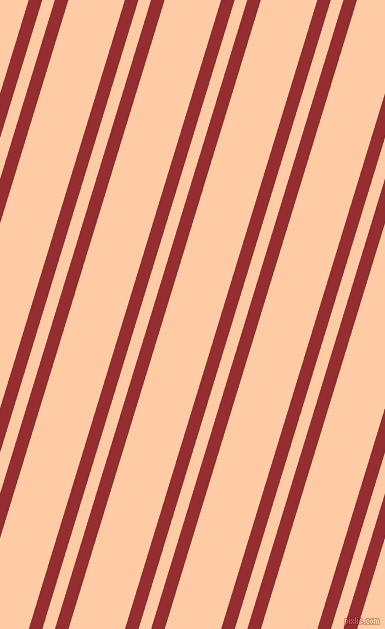 73 degree angles dual striped line, 13 pixel line width, 12 and 54 pixels line spacing, Guardsman Red and Peach dual two line striped seamless tileable