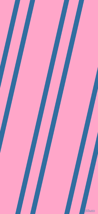 77 degree angles dual striped line, 17 pixel line width, 34 and 100 pixels line spacing, Lochmara and Carnation Pink dual two line striped seamless tileable