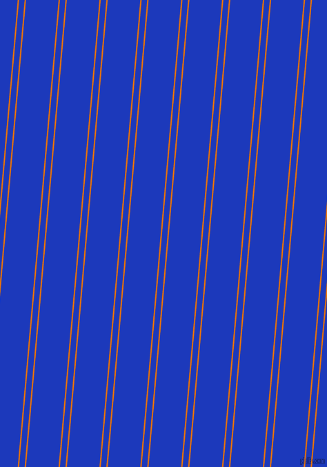 85 degree angles dual stripe line, 2 pixel line width, 8 and 47 pixels line spacing, Mango Tango and Persian Blue dual two line striped seamless tileable