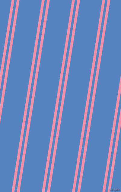 81 degree angle dual striped line, 9 pixel line width, 8 and 73 pixel line spacing, Mauvelous and Havelock Blue dual two line striped seamless tileable