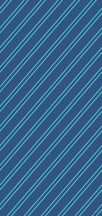 49 degree angle dual stripe lines, 3 pixel lines width, 8 and 30 pixel line spacing, Medium Turquoise and St Tropaz dual two line striped seamless tileable
