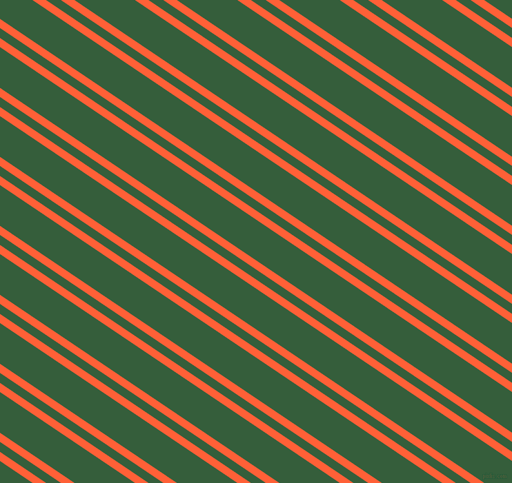 146 degree angles dual stripes lines, 11 pixel lines width, 12 and 49 pixels line spacing, Outrageous Orange and Hunter Green dual two line striped seamless tileable