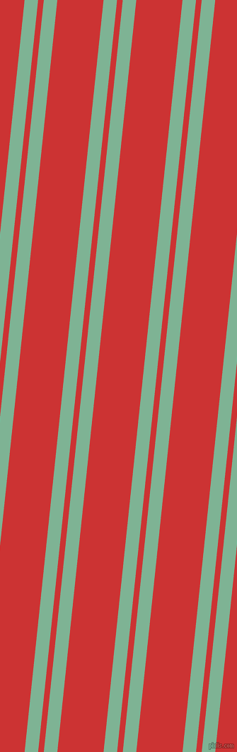 84 degree angles dual striped line, 19 pixel line width, 8 and 65 pixels line spacing, Padua and Persian Red dual two line striped seamless tileable