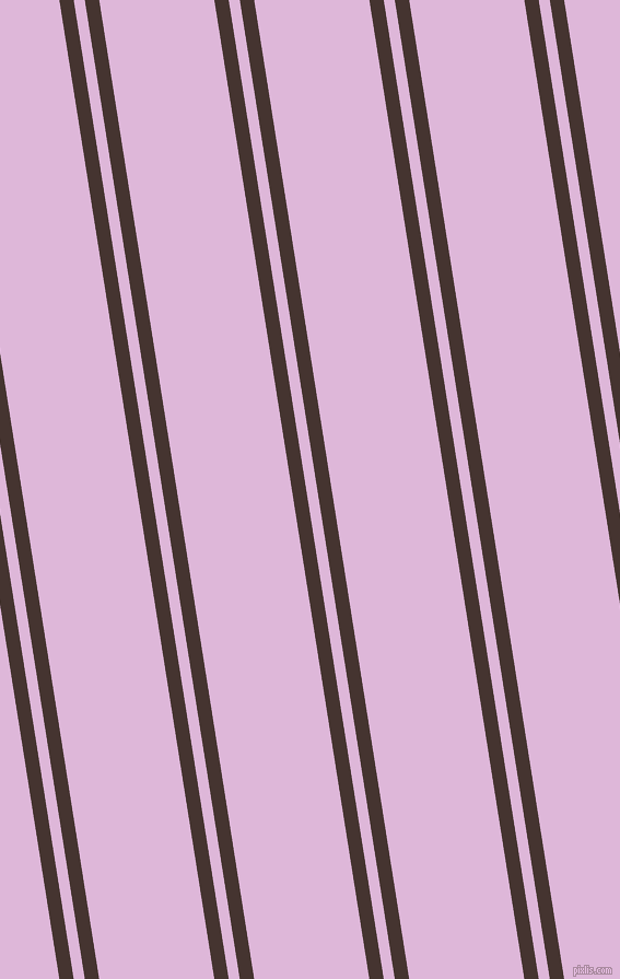 99 degree angle dual striped lines, 13 pixel lines width, 10 and 104 pixel line spacing, Rebel and French Lilac dual two line striped seamless tileable